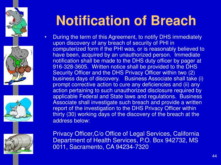 Notification of Breach