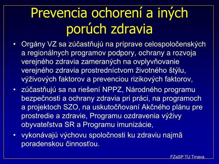 Prevencia ochorení a iných porúch zdravia
