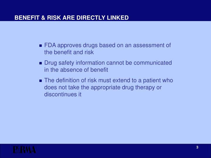 BENEFIT & RISK ARE DIRECTLY LINKED