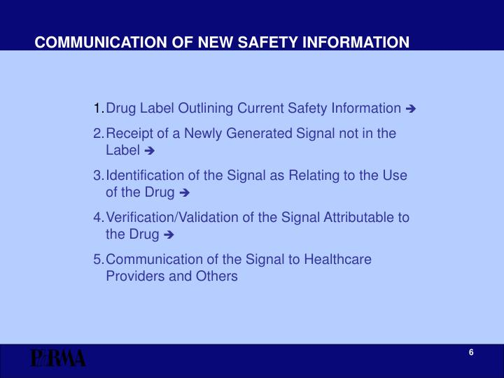 COMMUNICATION OF NEW SAFETY INFORMATION
