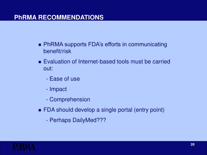 PhRMA RECOMMENDATIONS