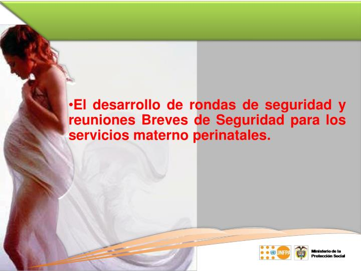 El desarrollo de rondas de seguridad y reuniones Breves de Seguridad para los servicios materno perinatales.