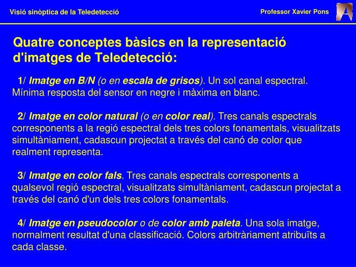 Quatre conceptes bàsics en la representació d'imatges de Teledetecció: