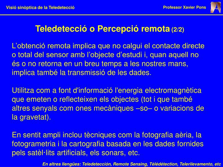 Teledetecció o Percepció remota