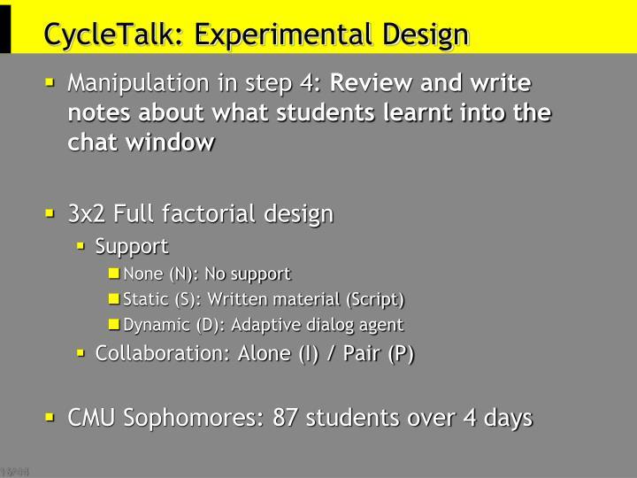 CycleTalk: Experimental Design