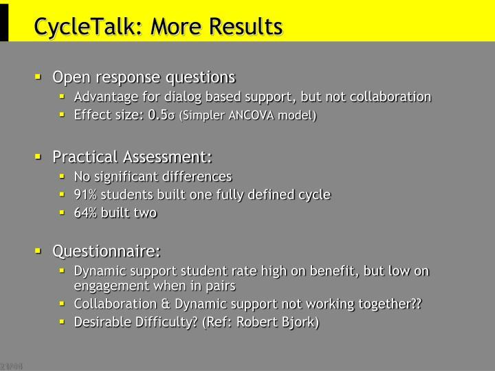 CycleTalk: More Results