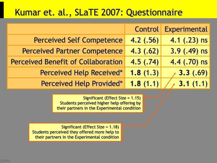 Kumar et. al., SLaTE 2007: Questionnaire
