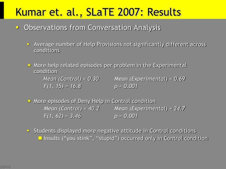 Kumar et. al., SLaTE 2007: Results