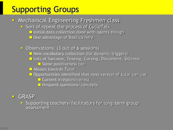 Supporting Groups