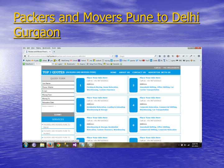Packers and Movers Pune to Delhi Gurgaon