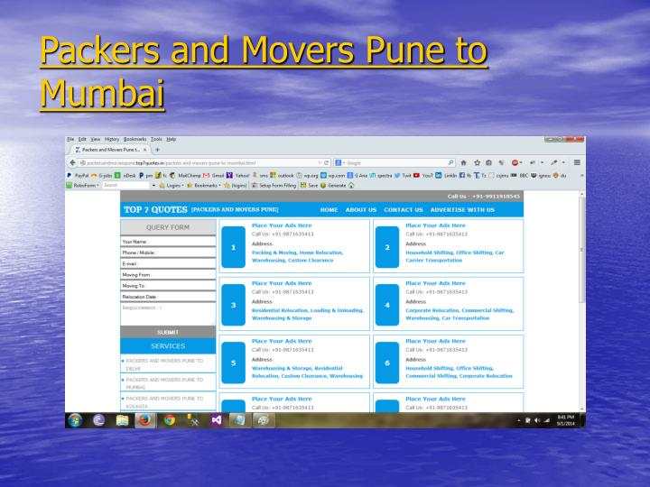 Packers and Movers Pune to Mumbai