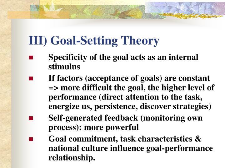 III) Goal-Setting Theory