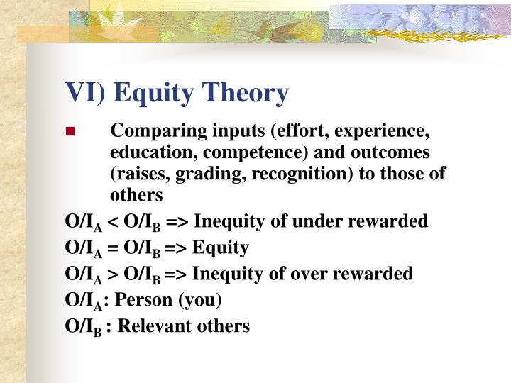 VI) Equity Theory