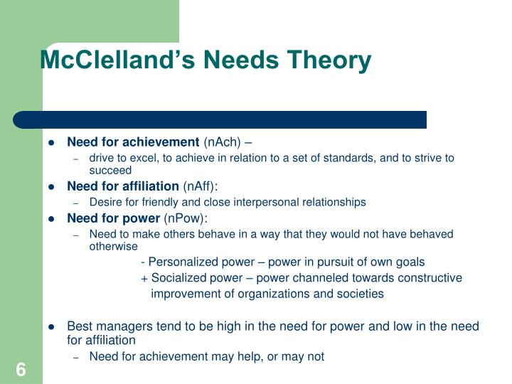 McClelland's Needs Theory