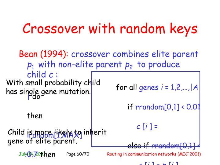 Crossover with random keys