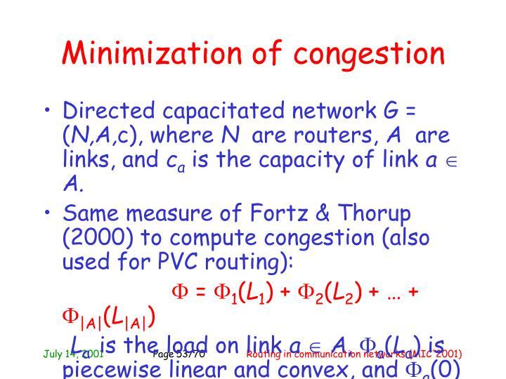 Minimization of congestion