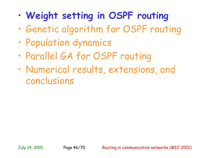 Weight setting in OSPF routing