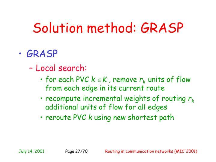 Solution method: GRASP