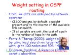 w eight setting in ospf routing