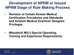 development of nprm or issued nprm stage of rule making process