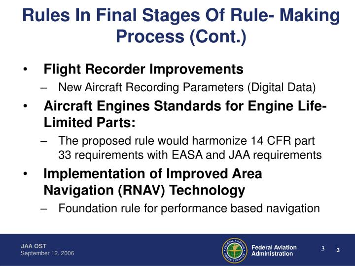 Rules In Final Stages Of Rule- Making Process (Cont.)