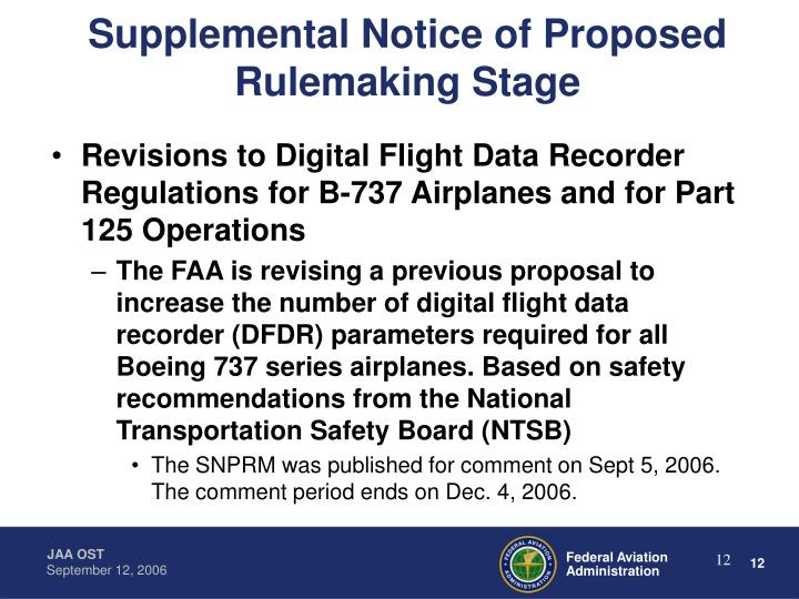 Supplemental Notice of Proposed Rulemaking Stage