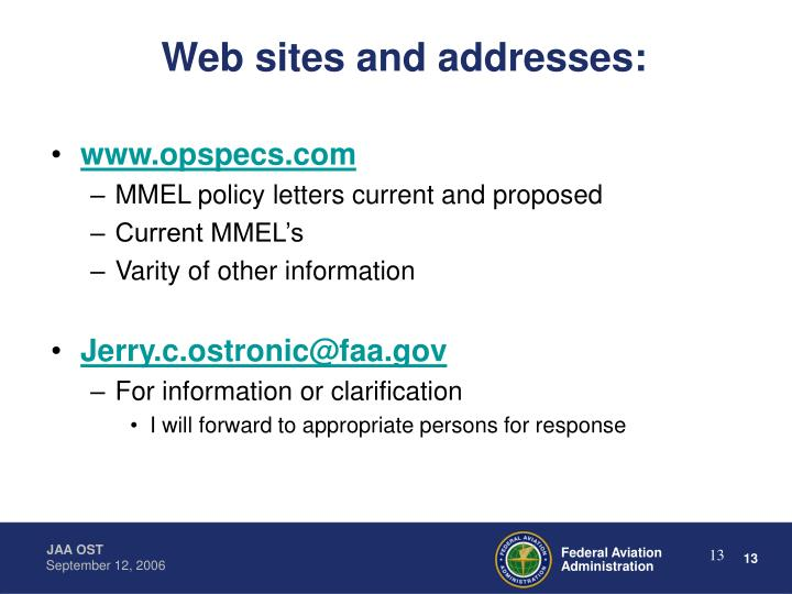 Web sites and addresses: