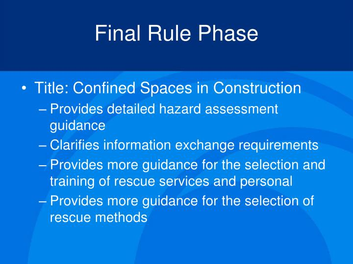 Final Rule Phase