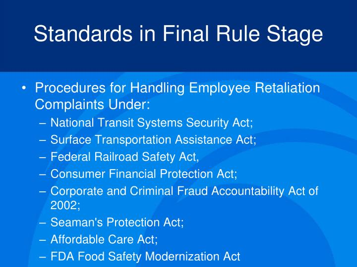 Standards in Final Rule Stage