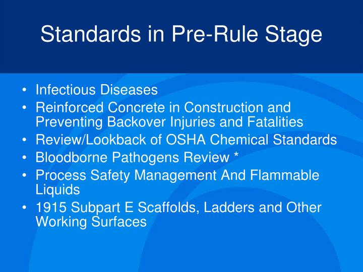 Standards in Pre-Rule Stage