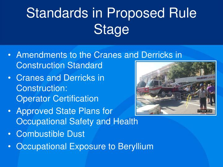 Standards in Proposed Rule Stage
