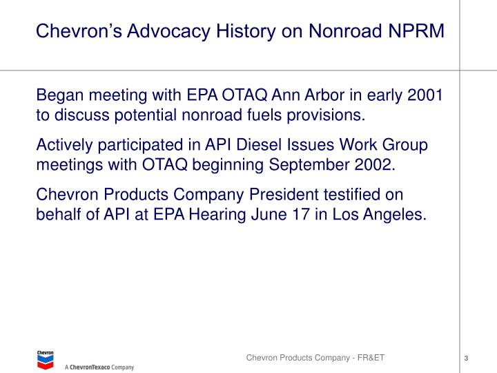 Chevron's Advocacy History on Nonroad NPRM