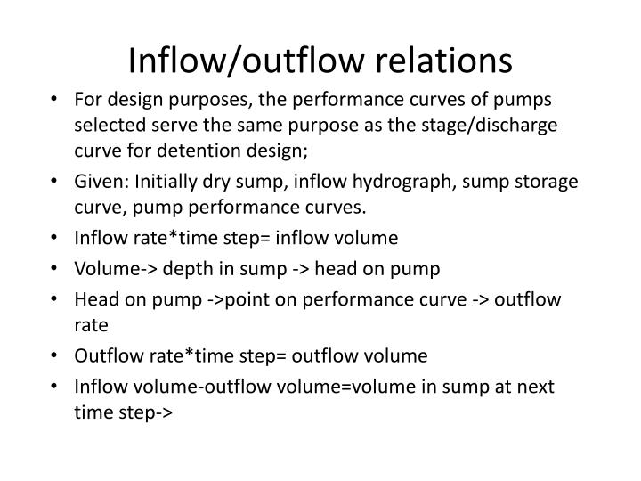 Inflow/outflow relations