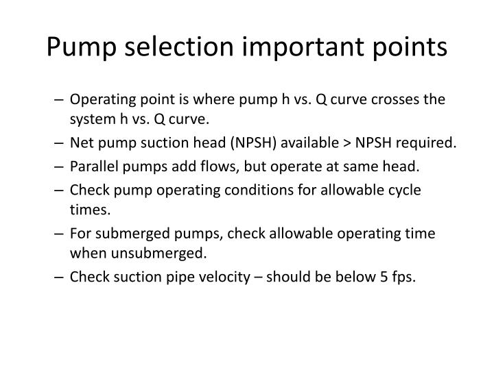 Pump selection important points
