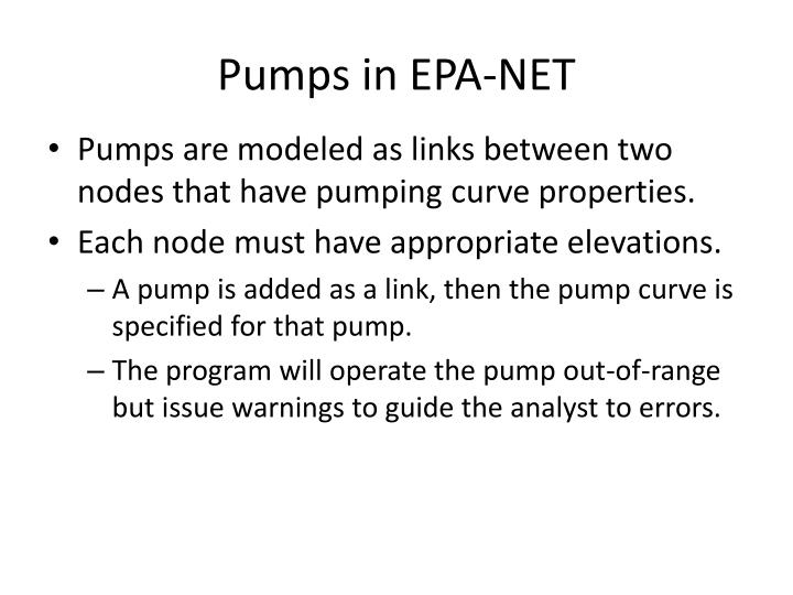 Pumps in EPA-NET