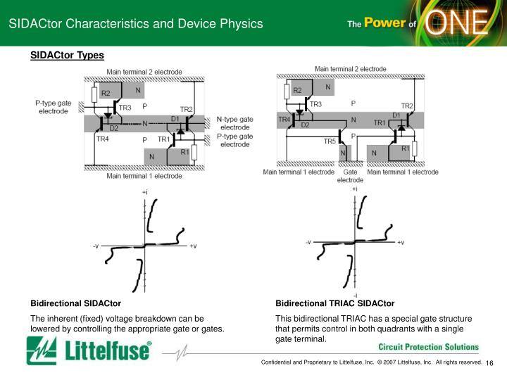 SIDACtor Characteristics and Device Physics