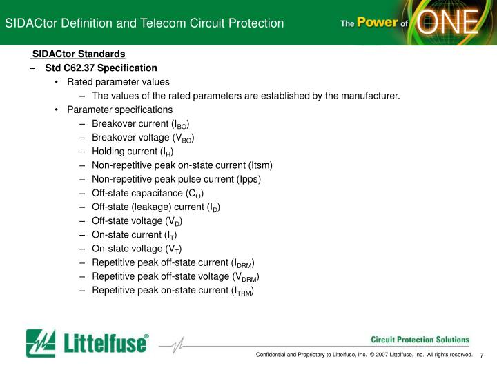 SIDACtor Definition and Telecom Circuit Protection