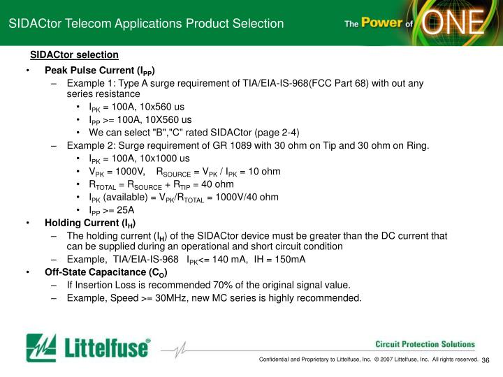 SIDACtor Telecom Applications Product Selection