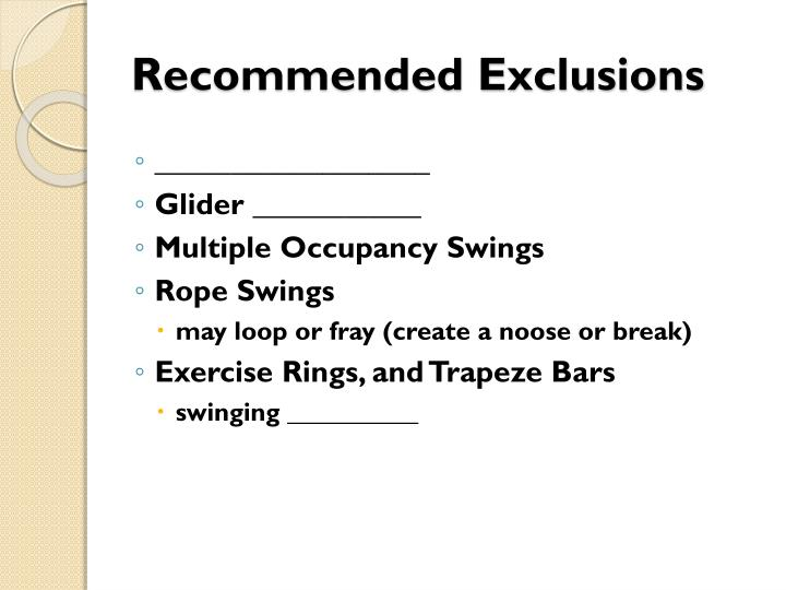 Recommended Exclusions