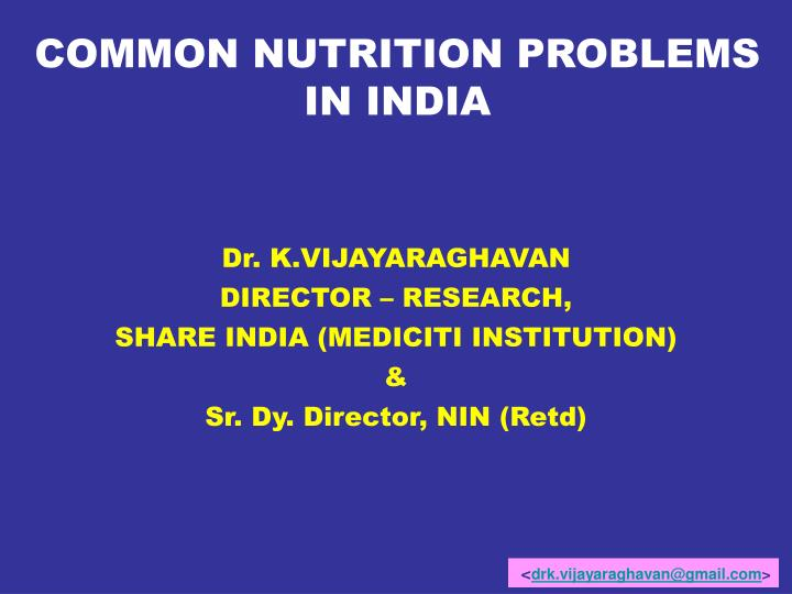 COMMON NUTRITION PROBLEMS