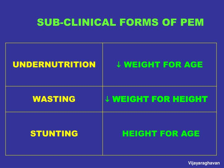 SUB-CLINICAL FORMS OF PEM