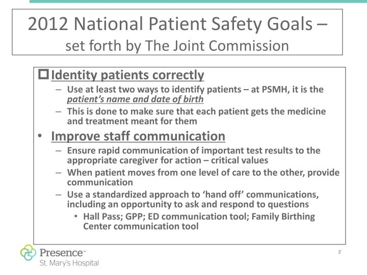 2012 national patient safety goals set forth by the joint commission