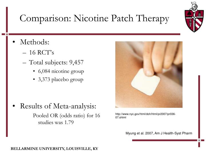 The nicotine patch compared to e-cigarettes in quitting