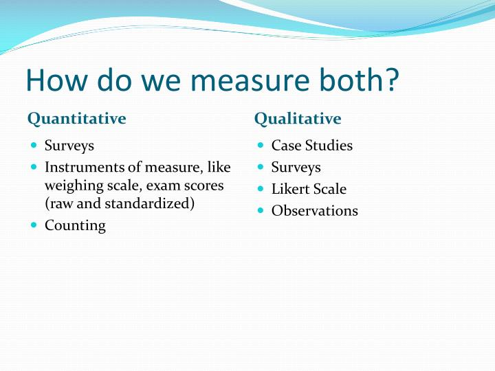 How do we measure both?
