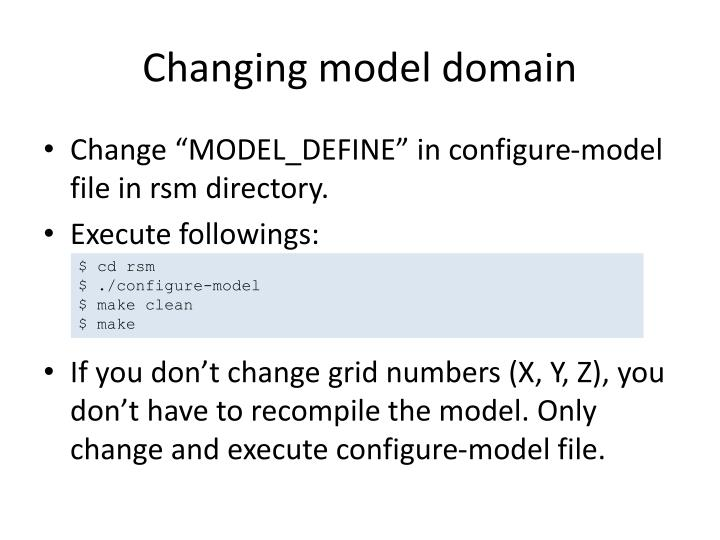 Changing model domain