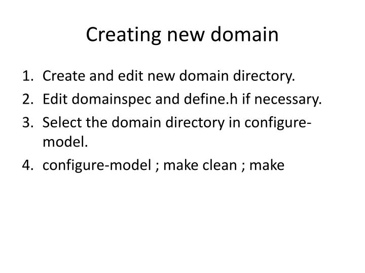 Creating new domain