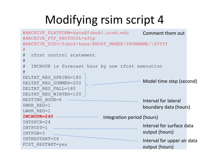 Modifying rsim script 4