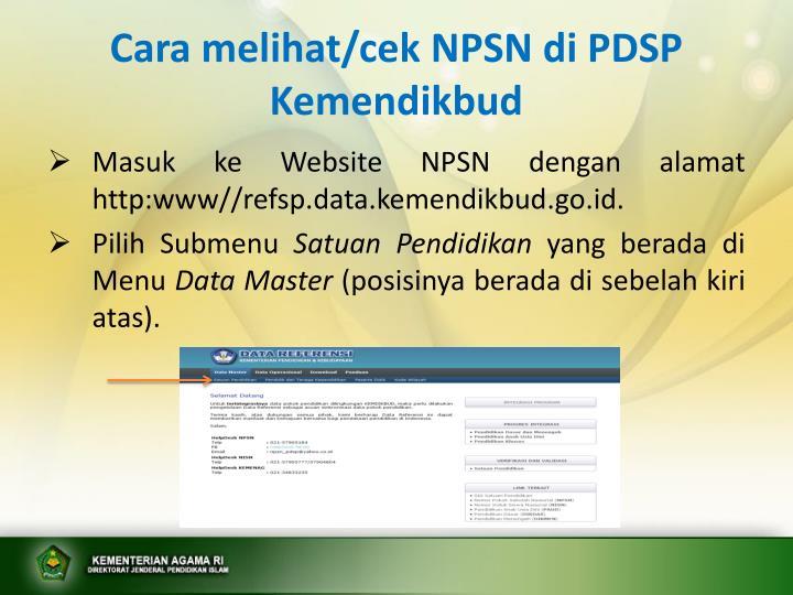 Cara melihat/cek NPSN di PDSP Kemendikbud