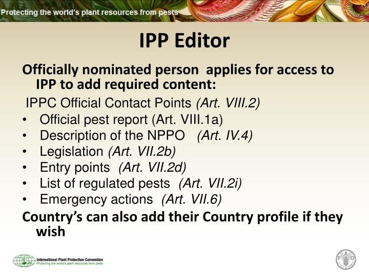 IPP Editor