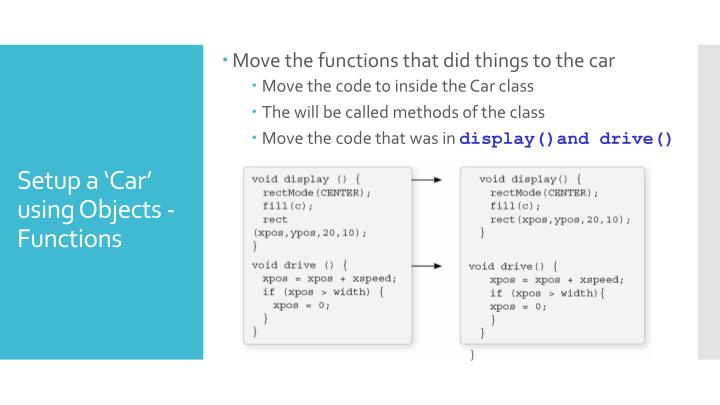 Setup a 'Car' using Objects - Functions